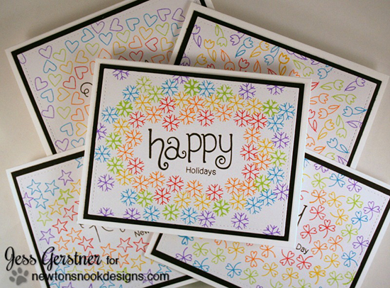 Seasonal Rainbow Cards by Jess Gerstner | Simply Seasonal Stamp set by Newton's Nook Designs #newtonsnook