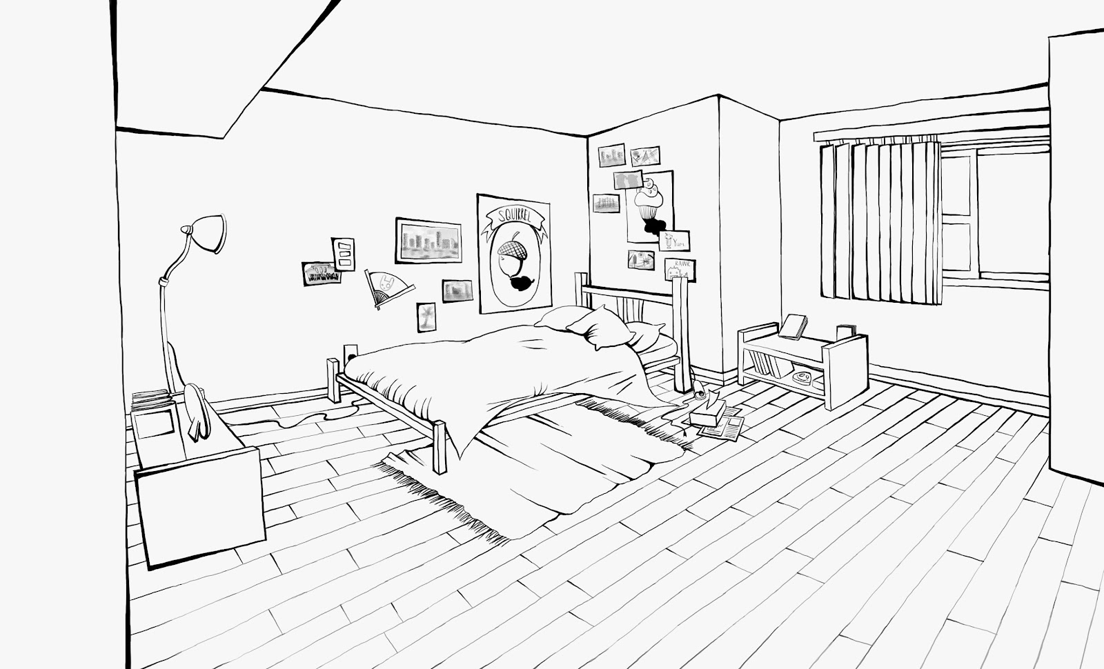Sarah Kujubu Research Drawing Bedroom