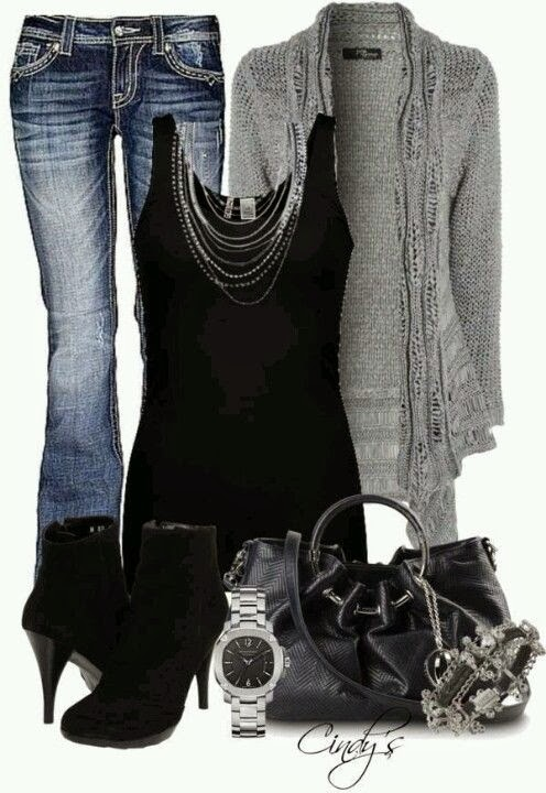 Adorable grey cardigan, black blouse, jeans, black high heels and handbag
