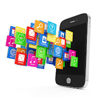 Illustration of an iPhone with icons of apps streaming out of its face