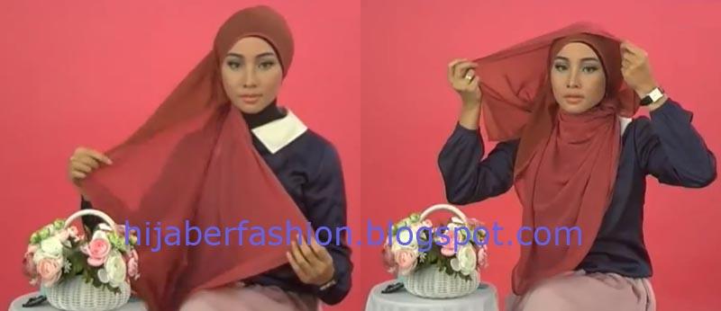 Langkah kedua, tarik jilbab kedepan untuk menutupi dada, lalu sisa ...