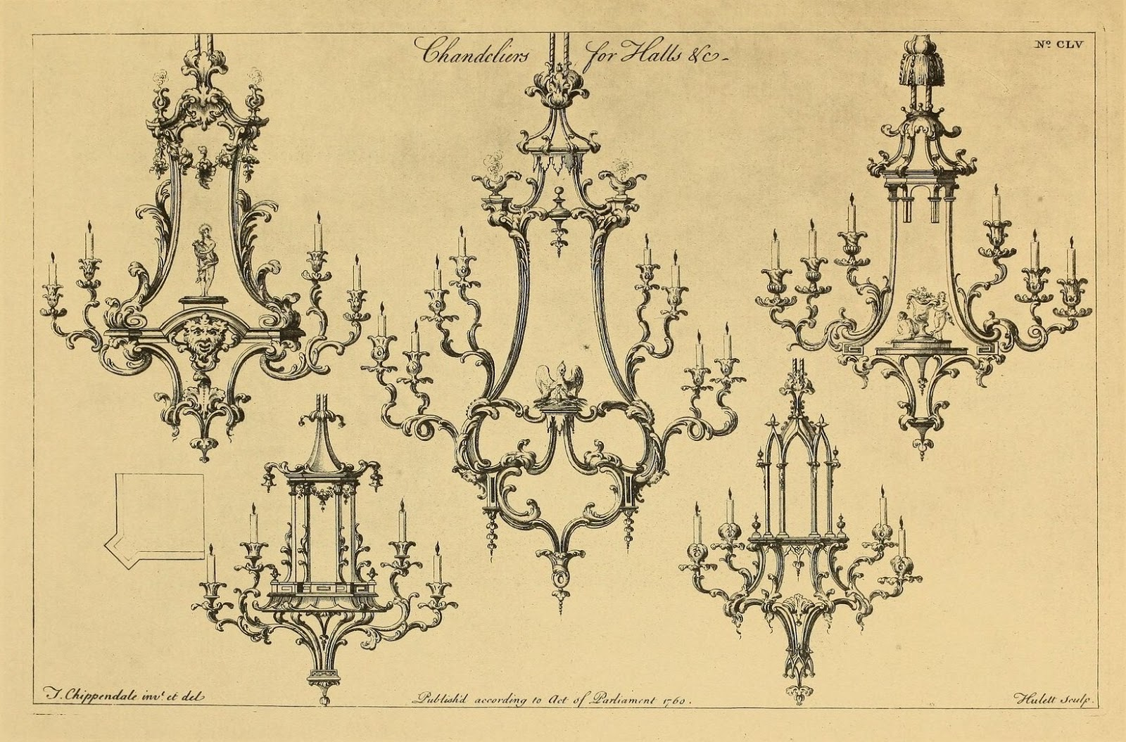 Sisters Warehouse: Beautiful Chandeliers Louis VX - Antique Print