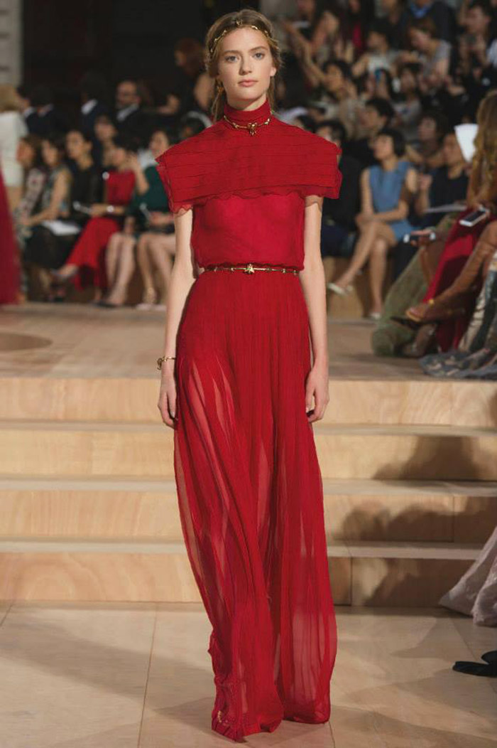 Long Organza Dresses In Cardinal Red With Sheer Tops And Full Skirts Were One Of The Key Motifs Collection