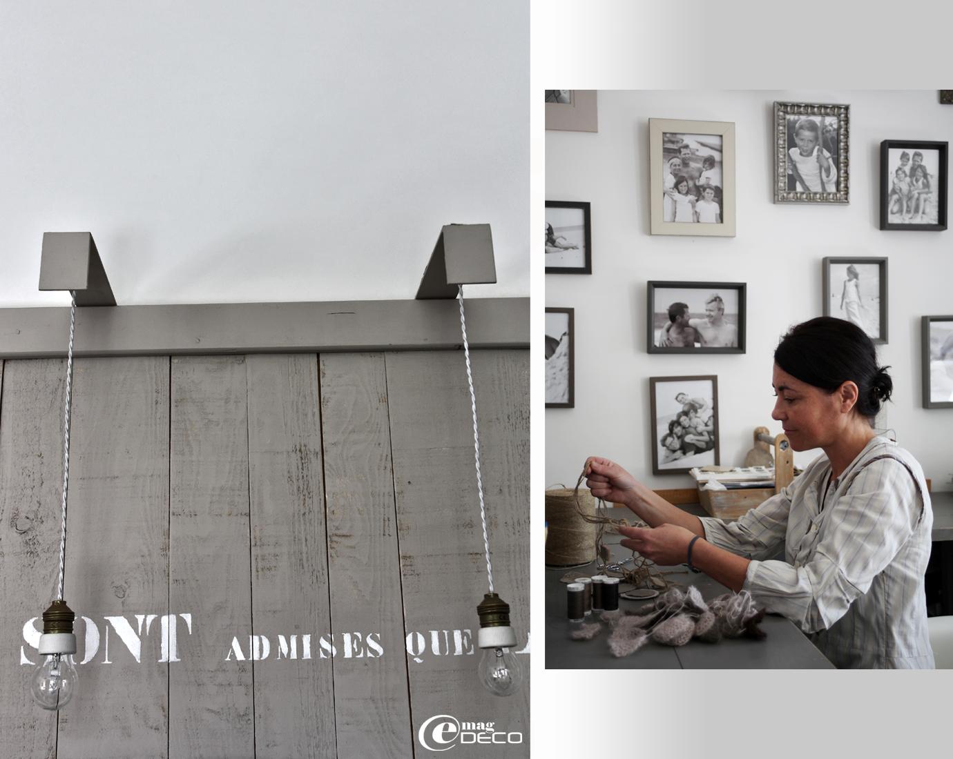 Béatrice Loncle, décoratrice-créatrice à Agen, dans son atelier où elle crée un panneau d'affichage et un bureau à partir de planches assemblées peintes en gris