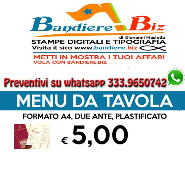 Bandiere Pubblicitarie Menu Da Tavolo Da Stampare Plastificati 5