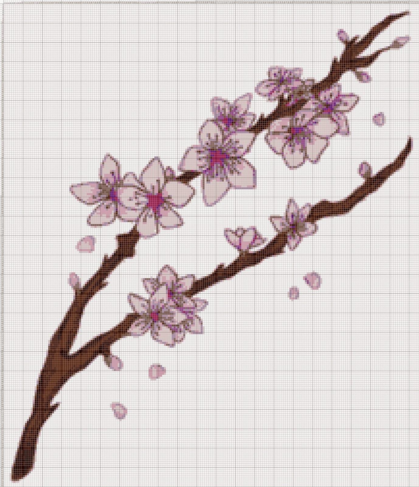 Gambar Pola Kristik Bunga Sakura Ungu - Jepang