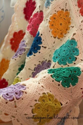 Maibelle Flowers - manta de bebé em fio de algodão