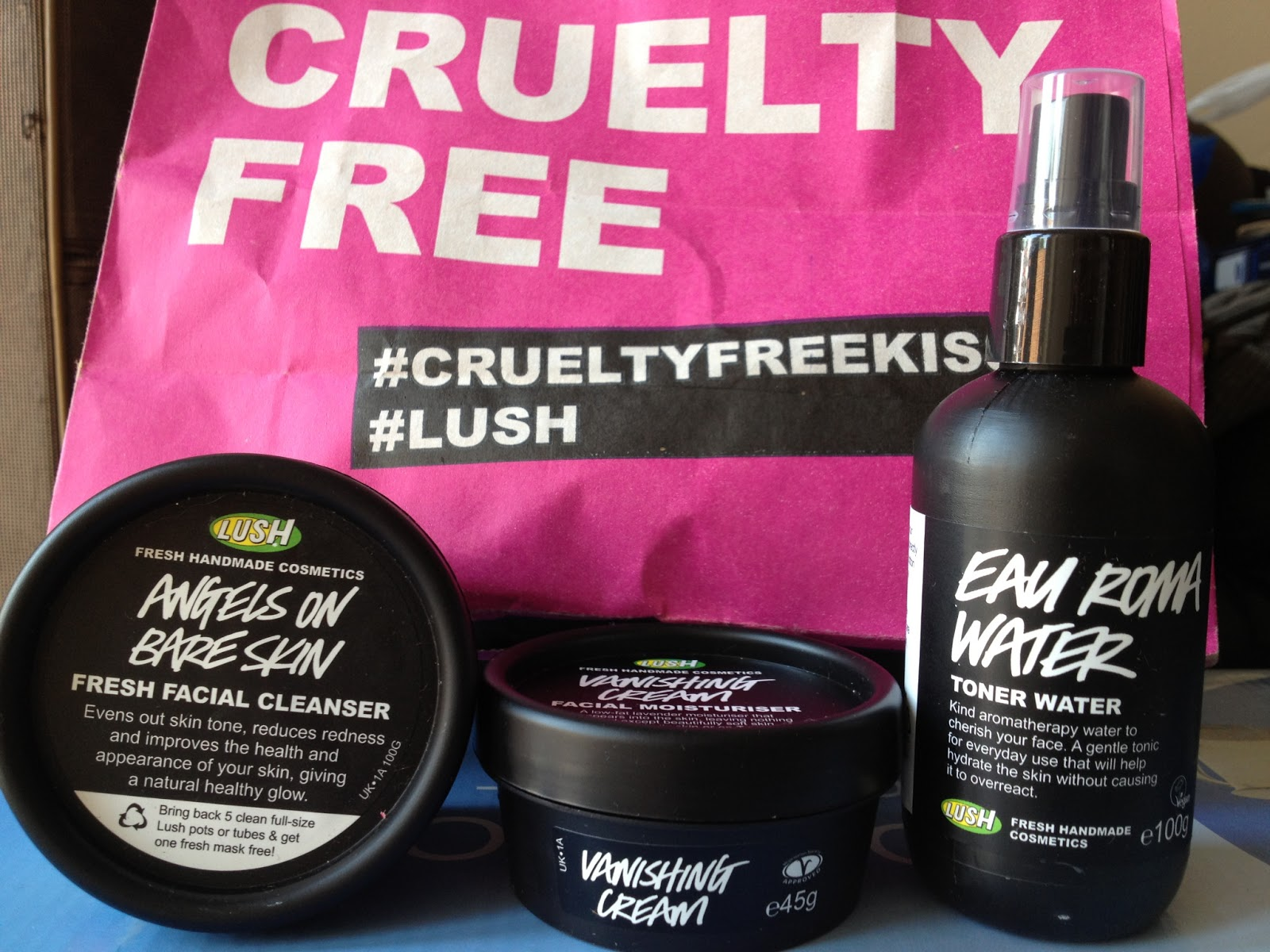 Lush Angels on Bare Skin cleanser, Vanishing Cream and Toner Water