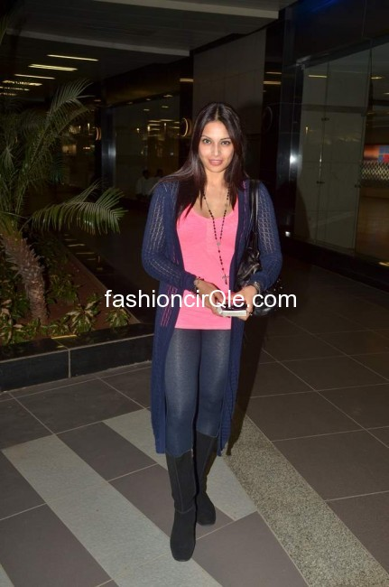 Bipasha basu pink top, black boots, blue duster - (2) - Bipasha Basu HOT @ airport