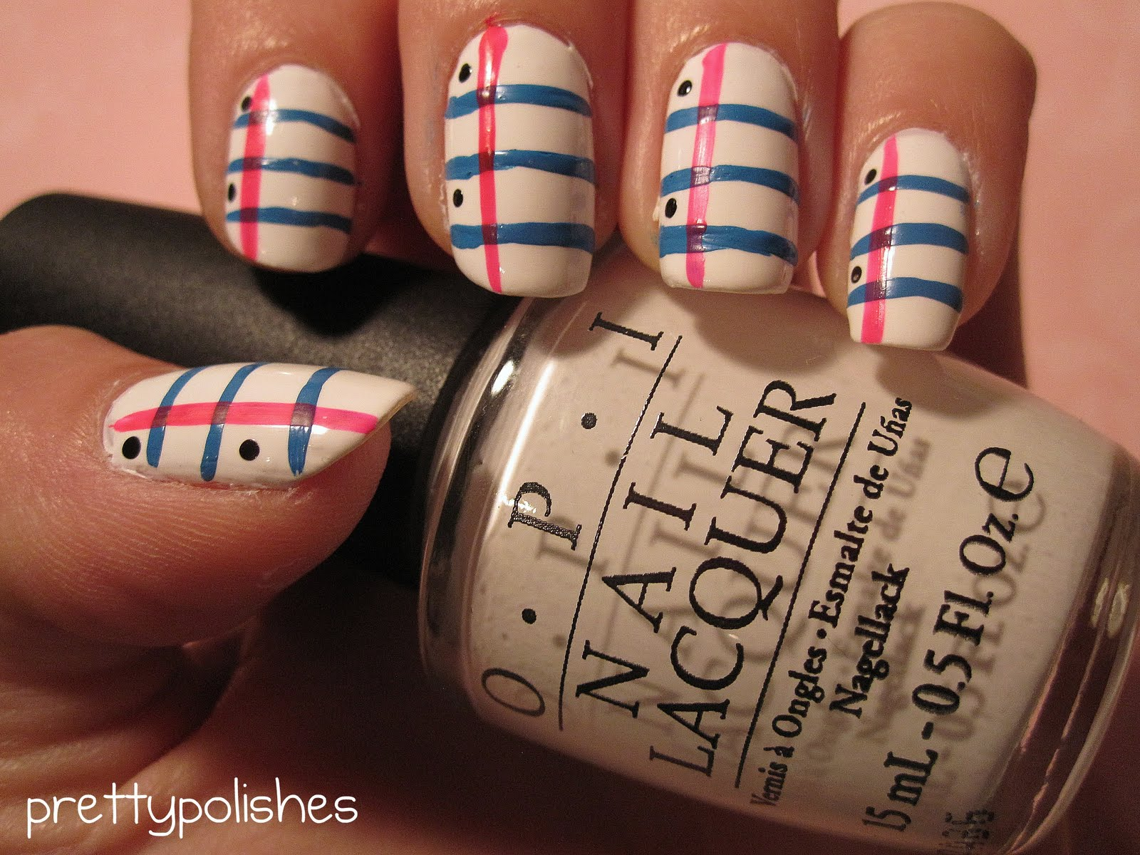 Back To School Lined Paper Inspired Nail Art