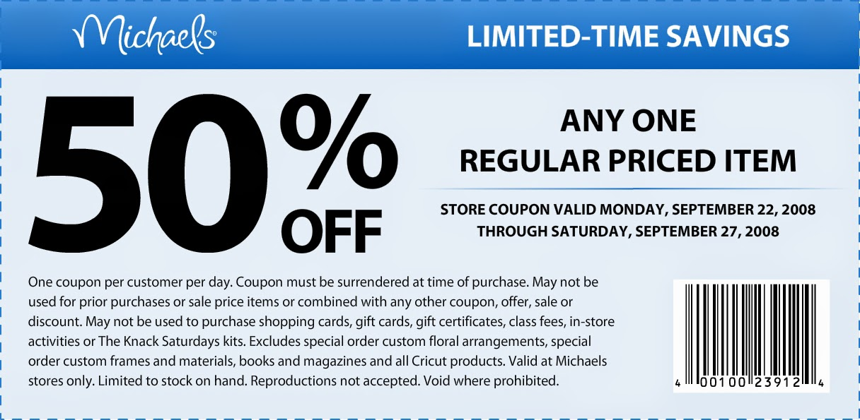 Michaels coupon entire purchase september 2018