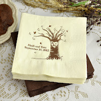 Mr. + Mrs. Love Tree Autumn Cocktail Napkins