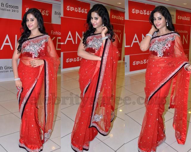 Swathi Deekshith Red Designer Saree