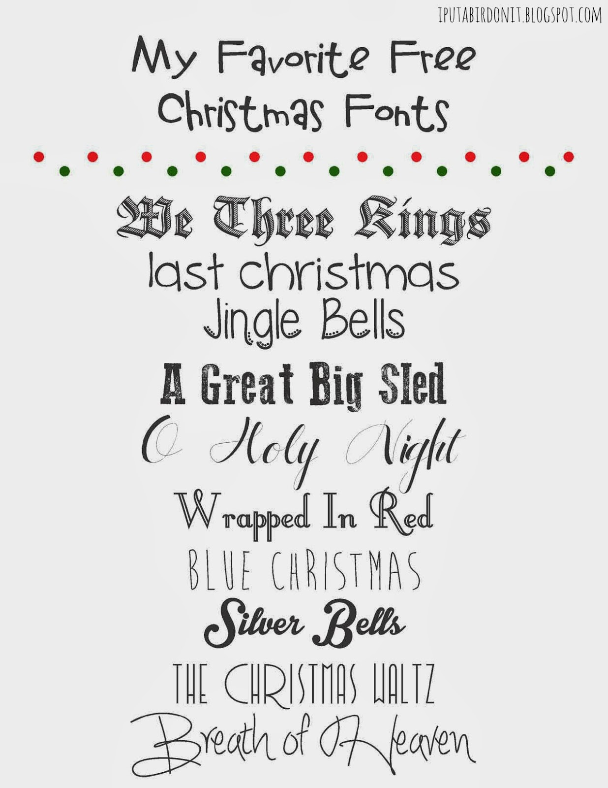 my favorite free christmas fonts and a link party - Christmas Fonts Free