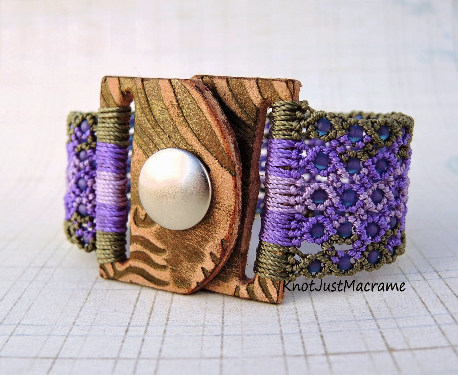 Micro macrame cuff by Sherri Stokey with leather snap clasp by Melinda Orr.