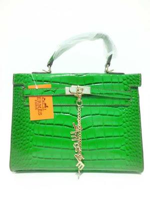 tas wanita terbaru, impor, import, tas branded Kelly Croco, Tas Kelly Croco warna Hijau (Green), image