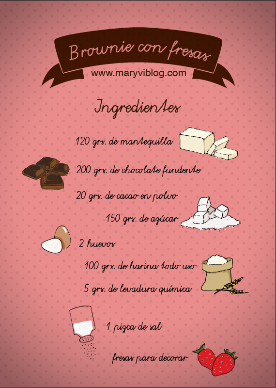 Brownie con fresas :ingredientes