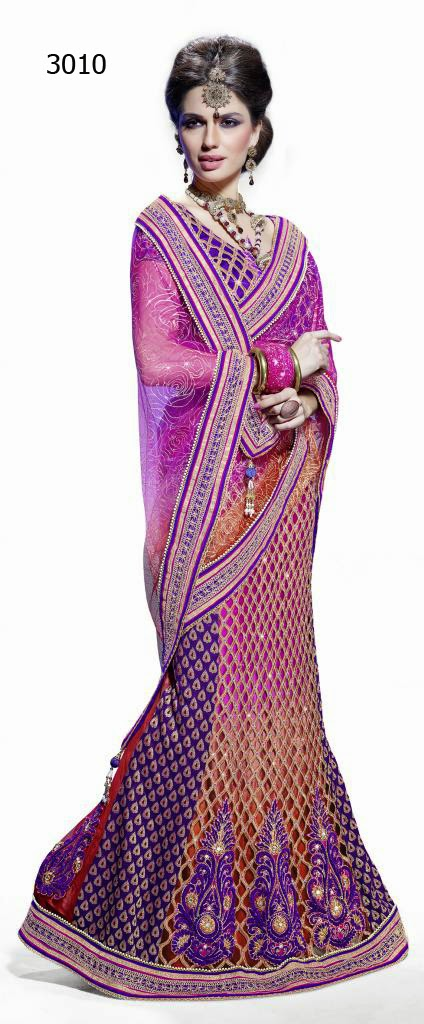 Letest Lengha type Saree-Online Shopping, Exclusive Designer Embroideries Resham Work Saree in Baroda