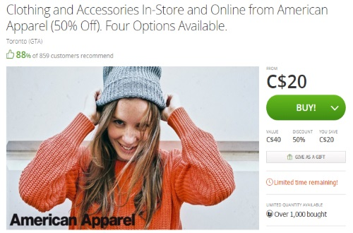 Groupon American Apparel 50% Off Clothing & Accessories