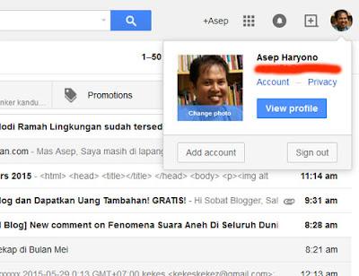 """Pertama : Login ke akun email anda.   Klik """"account"""" atau """"Akun"""" dalam bahasa Indonesia   Liat di sudut kanan atas"""