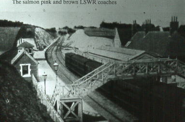 LSWR Carriages in salmon livery at West Meon