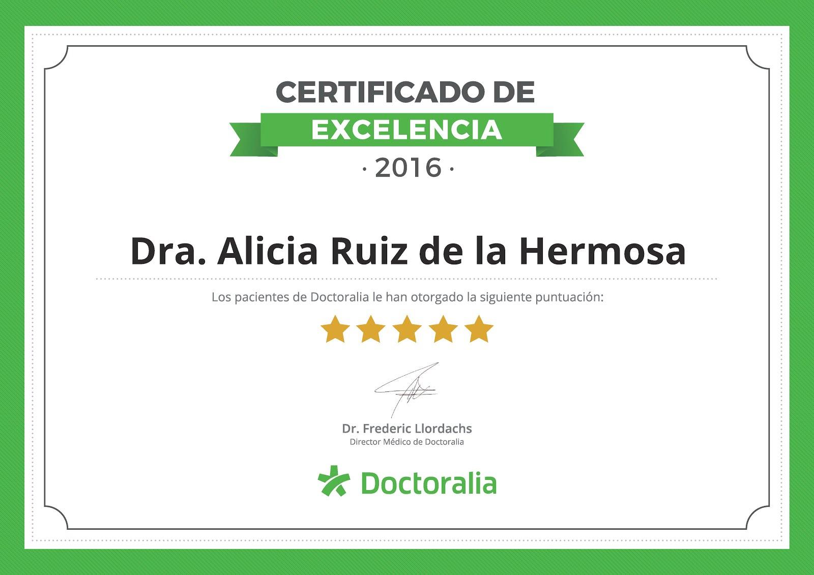 Certificado de Excelencia de Doctoralia