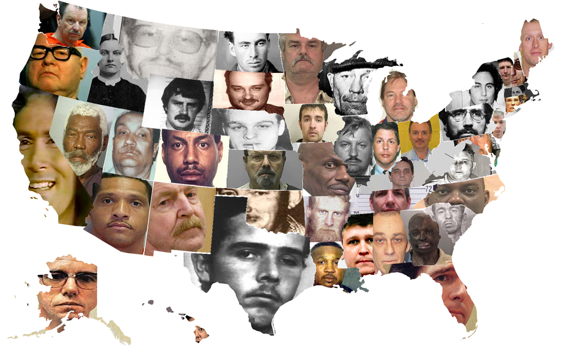 Unthought Serial Killers And Geography - Map of serial killers are active in the us