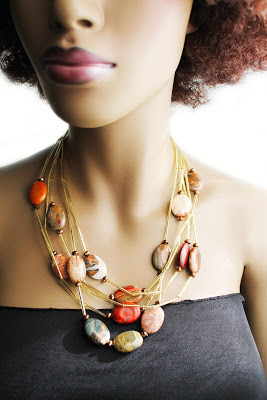 large statement natural stone necklace