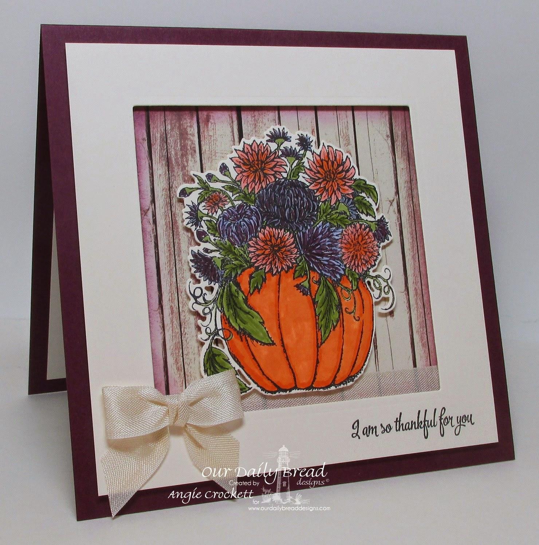 ODBD Fall Flower Pumpkin, ODBD Custom Pumpkin and Flowers Die, ODBD Doily Blessings, ODBD Rustic Beauty Designer Paper Collection, Card Designer Angie Crockett