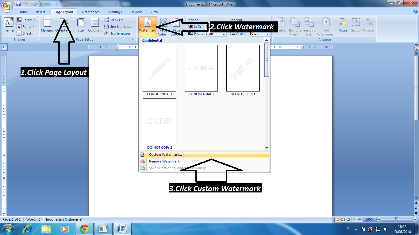 Cara membuat latar belakang di Microsoft Office Word 2007