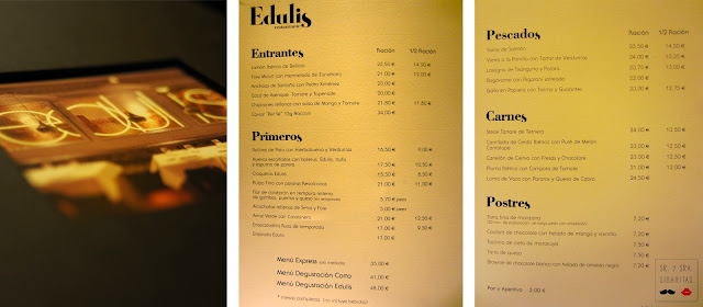 Restaurante Edulis. Madrid carta