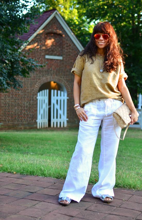 Linen pants street style