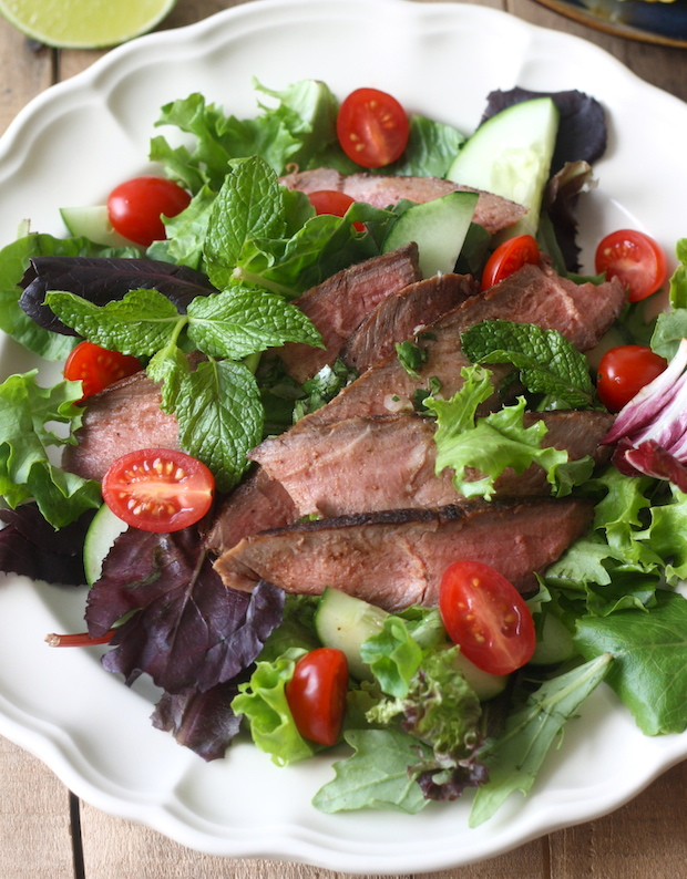 Thai Grilled Steak Salad recipe by SeasonWithSpice.com