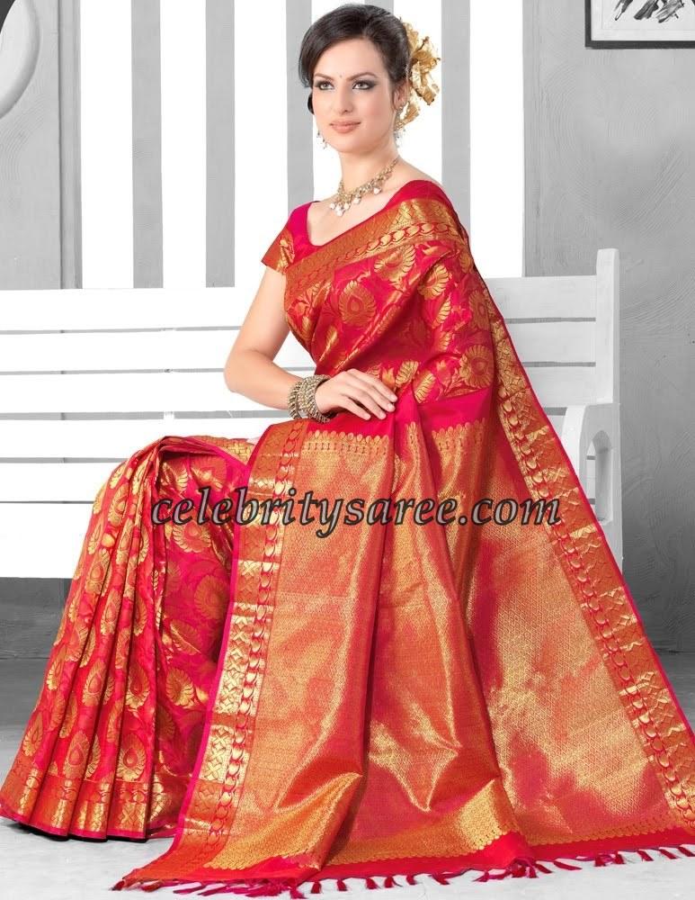 Gorgeous Red Kancheepuram Bridal Silk Saris Saree Blouse Patterns Isha Talwar In Jayalakshmi Silks