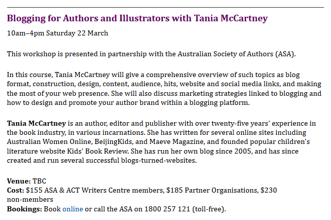 http://www.actwriters.org.au/events/upcoming-workshops-events.shtml