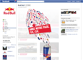 Page Facebook RedBull avant la Timeline (landing page)