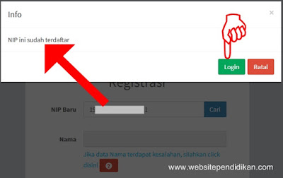 Cara Mengatasi Lupa Nomor Registrasi jika NIP sudah Terdaftar di PUPNS