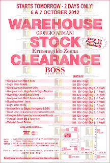 Armani Zegna Hugo Warehouse Stock Clearance Sale 2012
