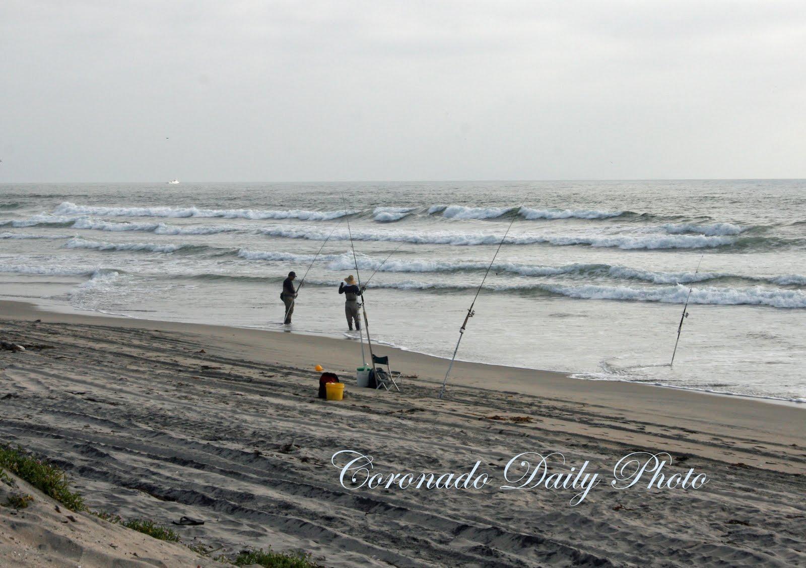 Coronado daily photo fishermen at high tide for Fishing high tide