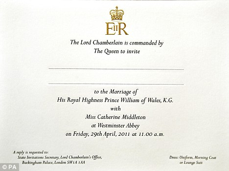 queen elizabeth wedding invitation. Over 1900 invitations were