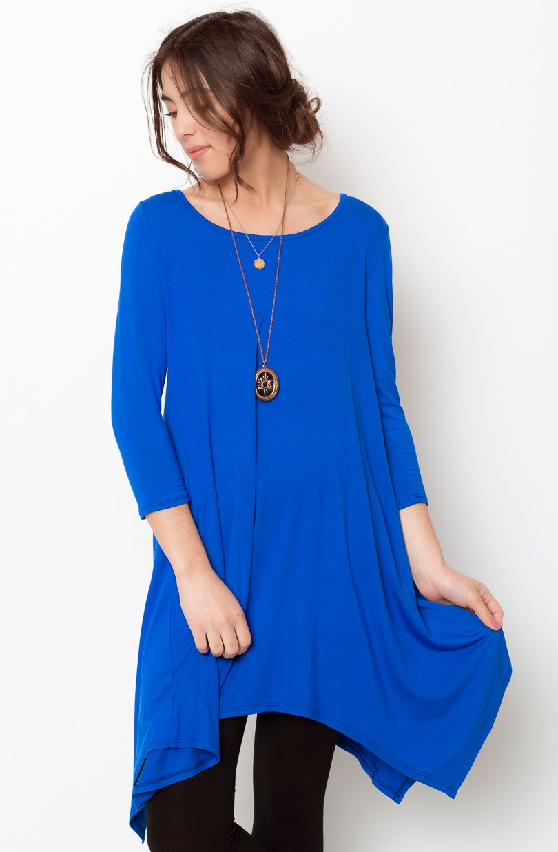 Buy online royal blue asymmetrical oversized hem tee dress for women on sale