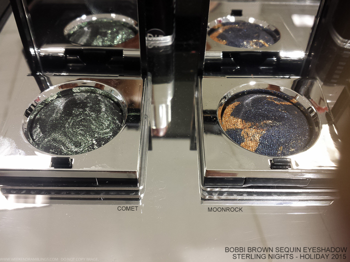 Bobbi Brown Sterling Nights Holiday 2015 Makeup Collection Photos Swatches Sequin Eyeshadows Comet Moonrock Starbeam Constellation