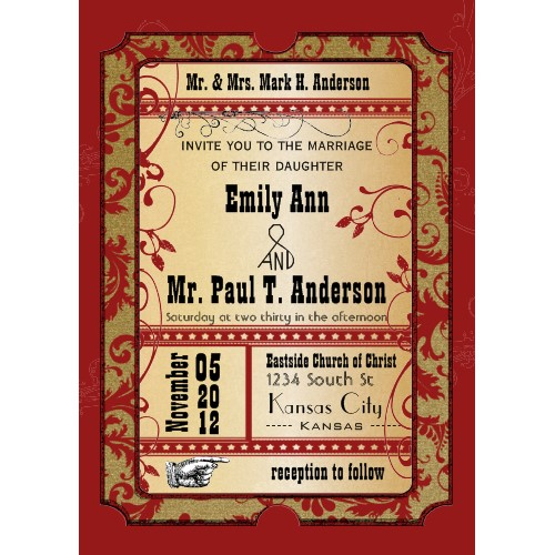 Order your Vintage Broadway Movie Theater Tickets Wedding Invitations