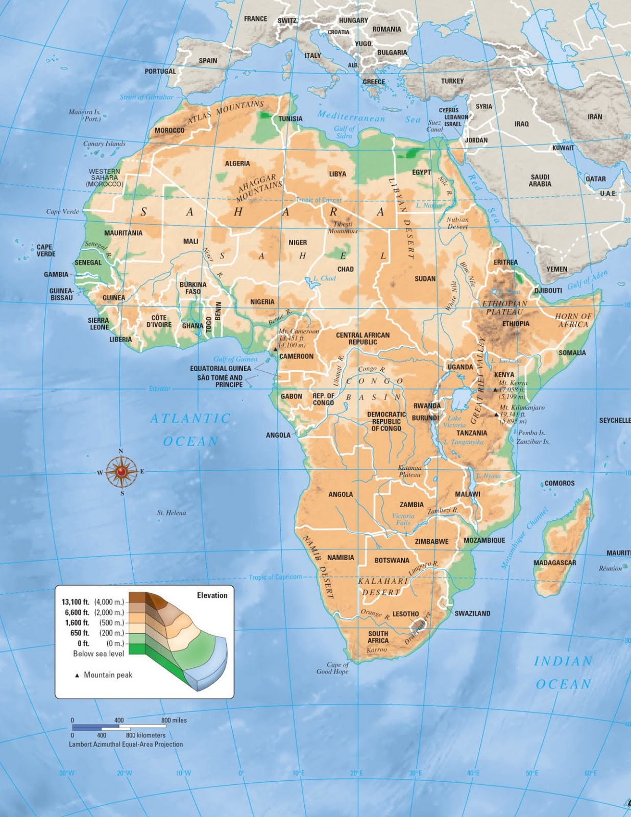Physical map of Africa with