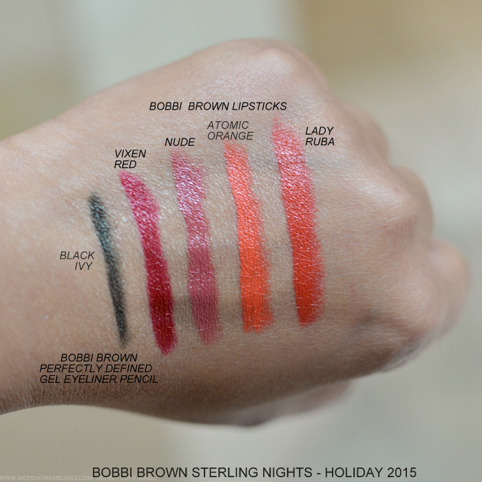 Bobbi Brown Sterling Nights Holiday 2015 Makeup Collection Photos Swatches Lipsticks Vixen red Nude Atomic Orange Lady Ruba Black Ivy Gel Eyeliner Pencil
