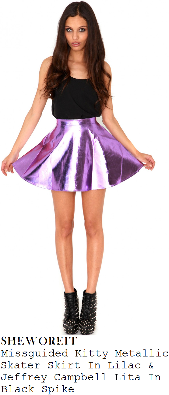 sheworeit: Perrie Edwards' Missguided Kitty Metallic Pastel Lilac ...