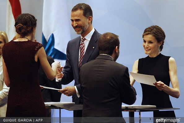 Spain's King Felipe VI and Spain's Queen Letizia preside over the 33rd edition of the Caixa scholarship award ceremony in Barcelona