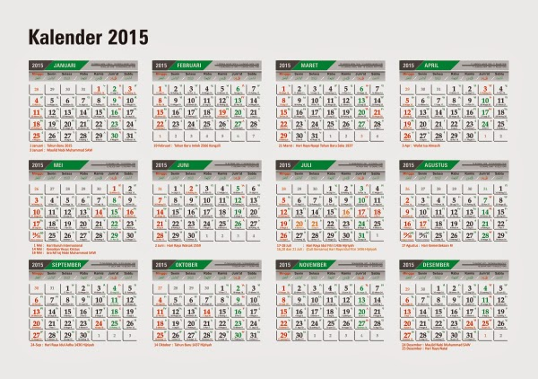 Download Kalender 2015 Indonesia Lengkap CorelDraw