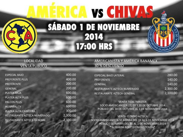 El primero de noviembre América y Chivas jugarán una edición más del clásico nacional.