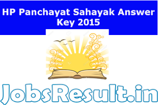 HP Panchayat Sahayak Answer Key 2015